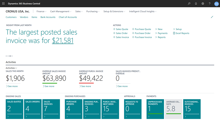 Business Central Business Dashboard
