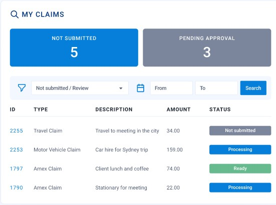 Expense Manager My Claims