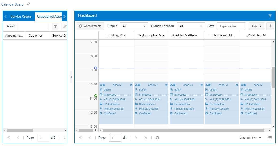 MYOB Advanced Field Service Calendar