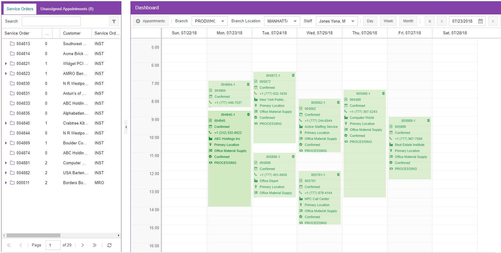 MYOB Advanced Field Service Scheduling