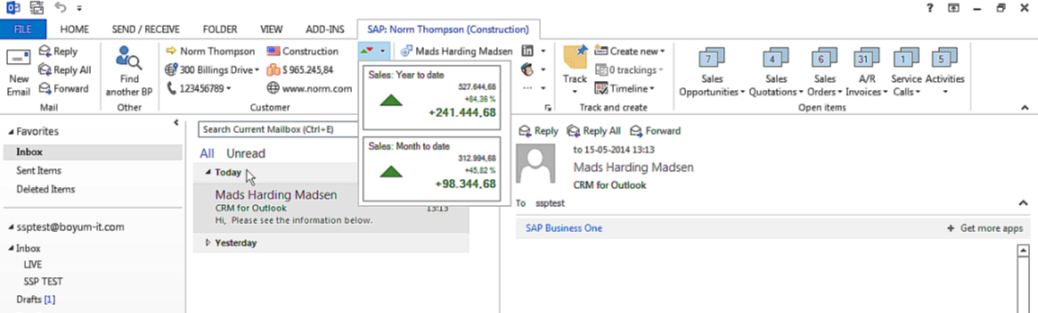 SAP Business One - Outlook CRM