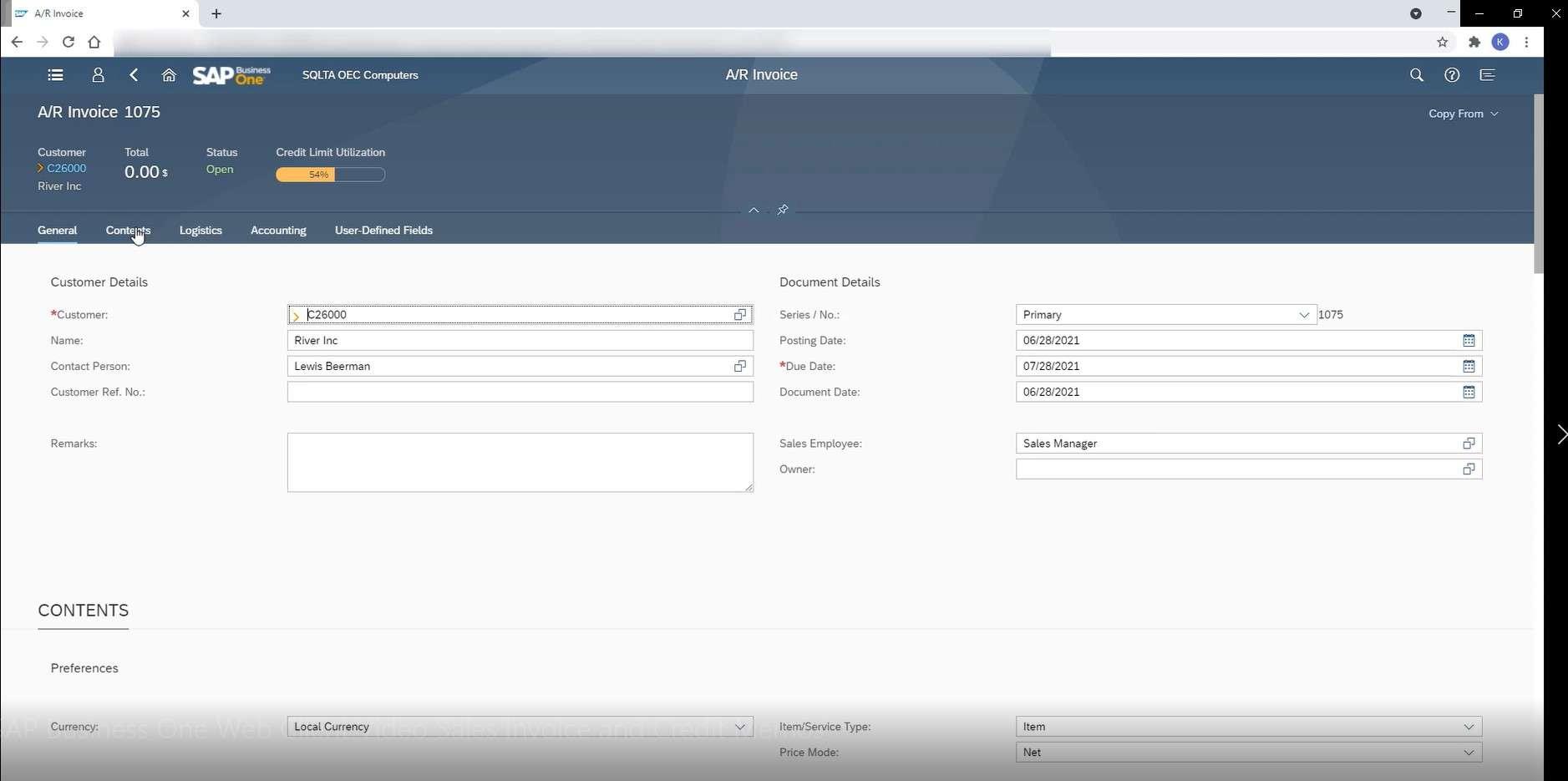 SAP Business One Web Client Enter Sales Invoices
