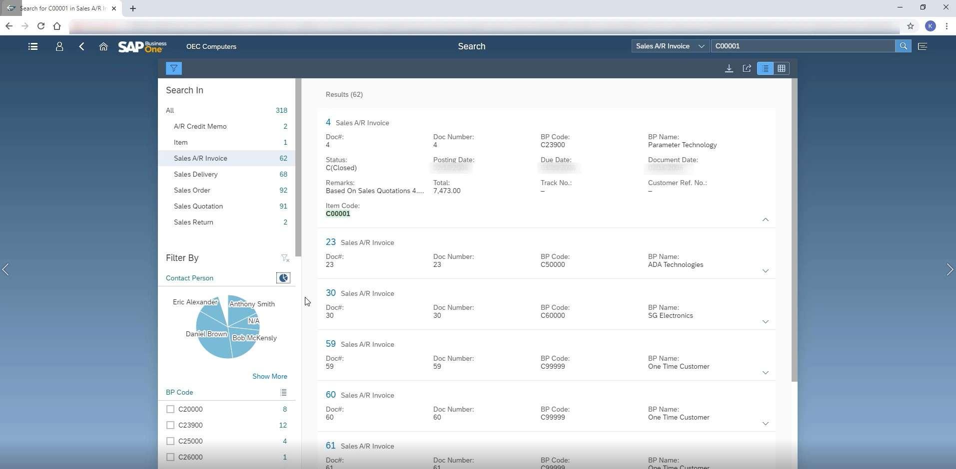 SAP Business One Web Client Enterprise Search